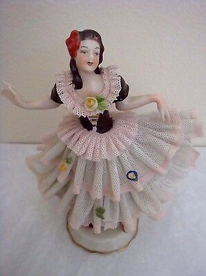 Dresden Lace - Laced Superb Marked Dresden Dancing Ballerina Girl