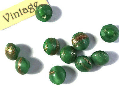 "#978SQ Vintage Buttons Foil Green Gold Tiny Self Shank 1/4"" 6mm Doll NOS Chalk"