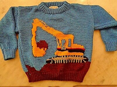 VTG JoAnn Armstrong CHILD knit sweater blue RETRO Tonka Toy Medium 6/8 KIDS SOFT