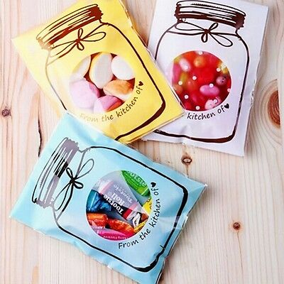 infoUS 200 Plastic Candy Cookie Gift Bag Adhesive Pouch Wedding Birthday Party