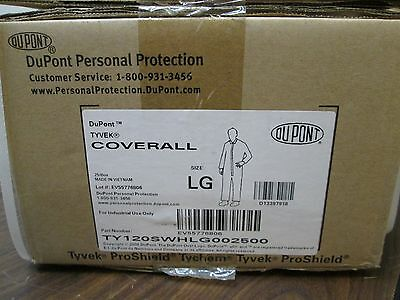 (25 PK) DUPONT TY120S White Tyvek Disposable Coverall Open Cuff Size Large NEW