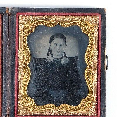Ruby ambrotype girl child photo Victorian antique 19th c ninth plate cased vtg