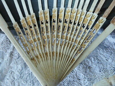 Superb Antique Painted Wooden Fan Frame with Gilded Decoration, for Project
