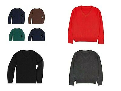 Ex M&s V Neck Cotton Rich Long Sleeve Jumper School Boys Girls Unisex Uniform