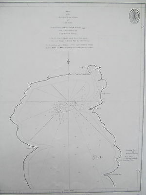 OLD ADMIRALTY FATHOMS CHART No.734. Plan of the Harbour and Road of SUEZ.
