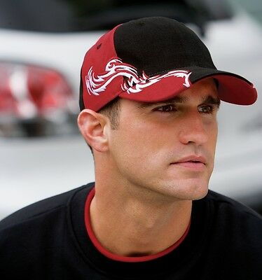 12 New Colorblock Flames Racing Hats Embroidered 4U Structured, MidProfile