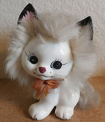 Vintage Ceramic Kitten Kitty Cat Figurine with Attached Fur Japan Vcagco GC