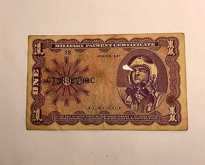 One Dollar Series 681 $1 Military Payment Certificate Bill Military Money