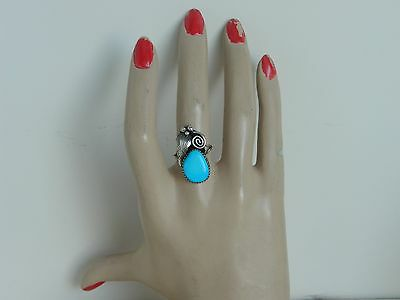 Native American Sterling Silver Turquoise Ring Size 7