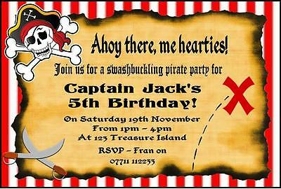 10 x Personalised Pirate Birthday Party Invitations Invites & free envelopes