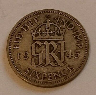 1945 King George VI .500 Silver Sixpence Coin