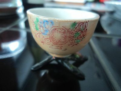 Vintage Dollhouse Chinese Fruit Bowl incluedes Wood Stand.