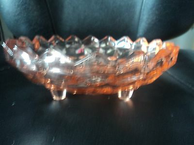Beautuful Vintage Pink Depression Glass Candy Dish Bowl. 3 legs / feet, 6 1/4""