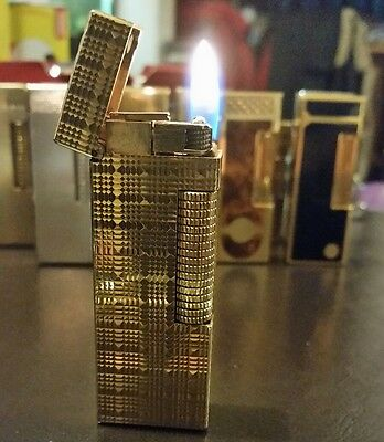 Newly serviced 1970s Genuine Dunhill Rollagas Lighter Gold Plated Tartan Pattern