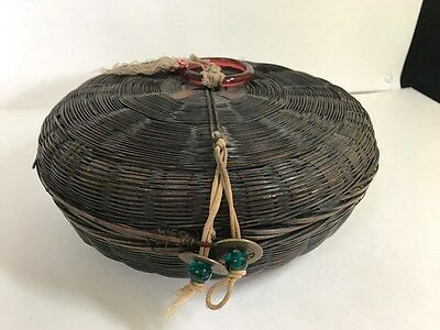 "Vintage 9""  CHINESE WICKER SEWING BASKET with tassel"