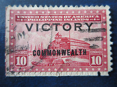 "Usa Stamps  Used  Philippine Islands .10 Centavos ""commonwealth/victory"" Overp."