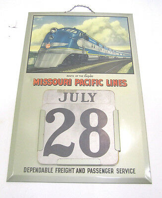 Vintage Missouri Pacific Lines Railroad Tin Perpetual Wall Calender