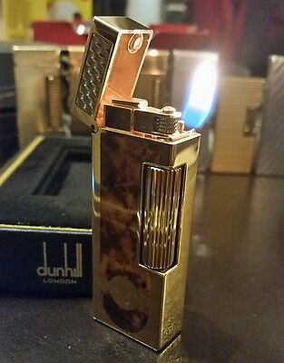 Newly serviced 2007 Dunhill Rollagas PIPE Lighter Gold Burr Walnut Lacquer Cigar