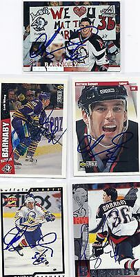 1997 Pinnacle #108 Matthew Barnaby Buffalo Sabres Signed Autographed Card