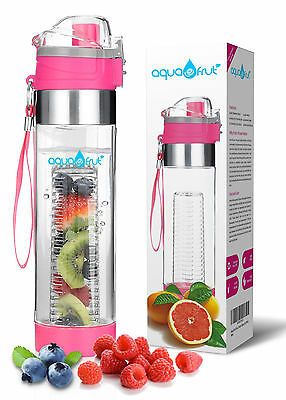 AquaFrut Fruit Infuser Water Bottle-One Click Open Lid (24oz, PINK) USA Seller!