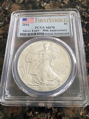 2016 American Silver Eagle - PCGS MS70 - First Strike - 30th Anniversary