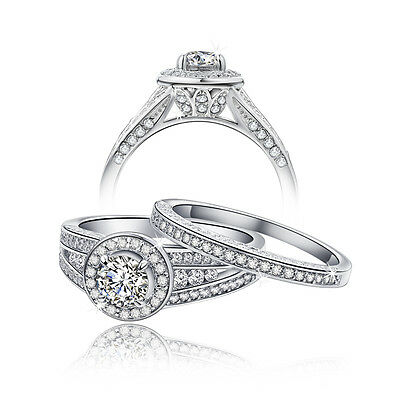 Round Cut Halo CZ 925 Sterling Silver Engagement Wedding Ring Set Women's Size 7