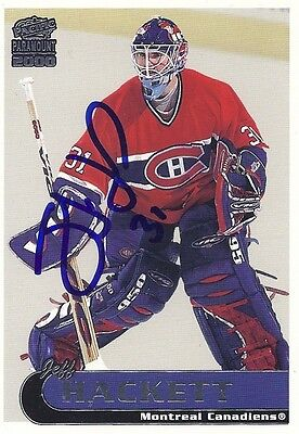 1999 Pacific Jeff Hackett Signed Autographed Hockey Card Montreal Canadiens