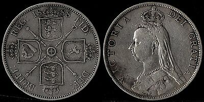 narkypoon's STRONG MIDDLE GRADE 1888 Victoria 925 STERLING SILVER Florin (2/-)