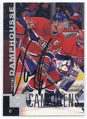 1997 UD #86 Vincent Damphousse Autographed Hockey Card Montreal Canadiens