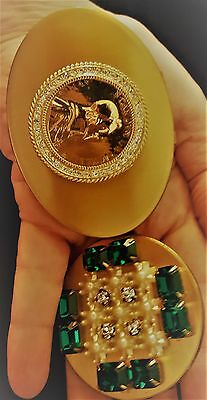 VTG Lot of Two for One Gorgeous Brassy Rhinestone Compact and Lipstick Holder