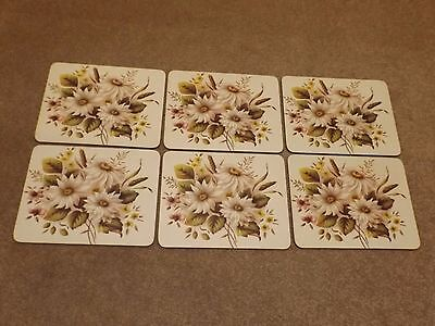 "6 PIECE VINTAGE TABLE MATS CLOVER LEAF PLACEMATS FLORAL MELAMATS 9.5"" x 7.5"""