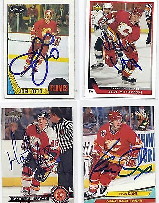 1992 Fleer Ultra #266 Kevin Dahl Calgary Flames Signed Hockey Card Rookie