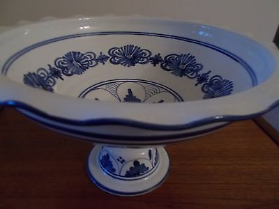 New Large blue and white china footed dish/bowl