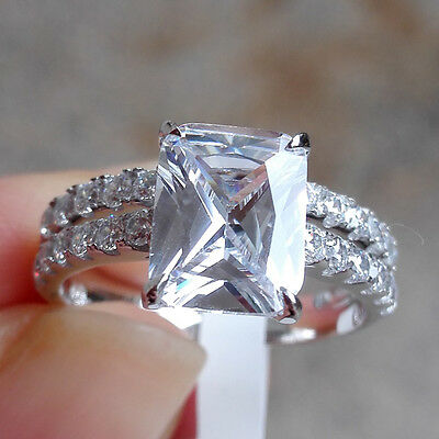 2.60 Ct Emerald White Sapphire 925 Sterling Silver Engagement Ring Set Size 7