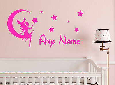 Personalised Fairy on the Moon Vinyl Wall Sticker Home Mural Decor Room Decal