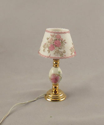 Dollhouse Miniature Pink Floral Ceramic Table Electric Lamp Lighted Light