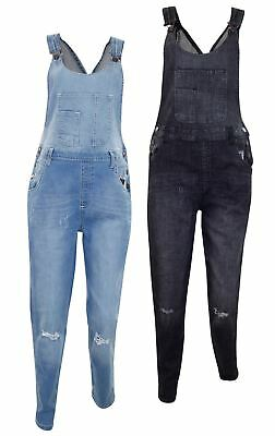New Women Ladies Ripped Stretch Denim All In One Dungaree Button Fasten Overalls
