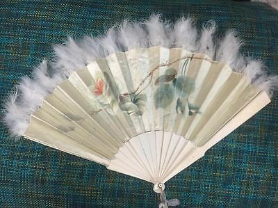 Vintage Handpanited Silk and Feather Hand Fan With Bone Ribs