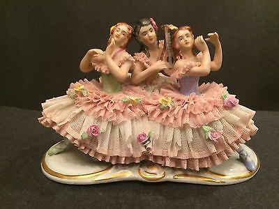 Antique Volkstedt Dresden Lace Figurine Three Ballerina on Bench Germany