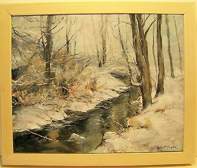 Stream in the forest, winter snow, acrylic, hand painted by Bob MacDougall
