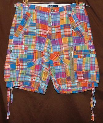 Polo Ralph Lauren Size 30 Made In India 100% Cotton Vibrant Patch Cargo Shorts!