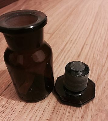 Vintage Brown Glass Medicine Apothecary Bottle Jar with Stopper