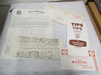 1965 State of Wyoming Non-Resident Hunting License Letter with Maps, Application