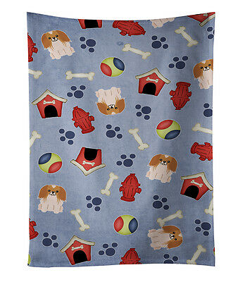 Dog House Collection Pekingnese Red White Kitchen Towel