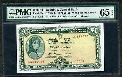 1974 IRELAND REPUBLIC, CENTRAL BANK  1 POUND PCK # 64c PMG 65 EPQ LQQK!!