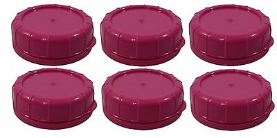 Replacement Glass Milk Bottle Lids 48mm Caps for Libbey and Stan-Pac 6 Pk Pink