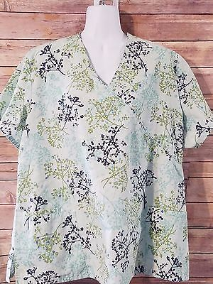 Sb Scrub Top Womens Plus Size 2X Green Floral