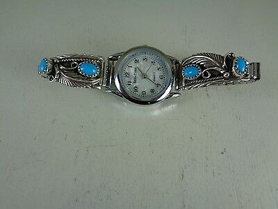 Ladies Watch Tips  .925 Sterling With Watch & Turquoise Stones Running Bear