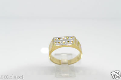 Mens 10Kt Yellow Gold Ring With Diamonds
