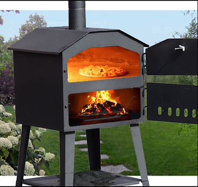 BBQ Barbecue Grill Pizza Oven Charcoal Wood-Burning Patio Garden Heating Patio